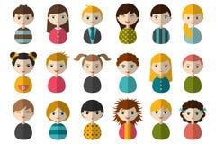 大套孩子的不同的具体化 男孩和女孩白色背景的 Minimalistic平的现代象集合画象 免版税库存照片