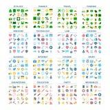 大套平的五颜六色的象 各种各样的标志的汇集 库存例证