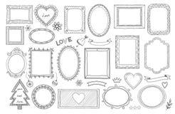 大套手拉的被隔绝的框架和不同的元素:心脏,横幅,花,在上写字 库存例证