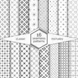 大套无缝的样式 古典简单的纹理 规则重复与小点的几何包裹的表面,十字架, 库存图片