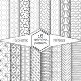 大套无缝的样式 现代典雅的线性纹理 规则重复与六角形的几何背景,多角形, 免版税图库摄影
