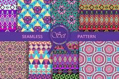 大套无缝的teksur 种族样式 对纺织品和包装 库存照片