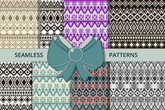 大套无缝的teksur 种族样式 对纺织品和包装 库存图片