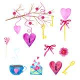 大套水彩元素为情人节或婚礼那天 花、箭头、信封、气球、心脏,杯子和其他 库存照片
