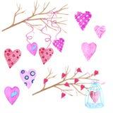 大套水彩元素为情人节或婚礼那天 花、箭头、信封、气球、心脏,杯子和其他 库存图片