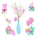 大套水彩元素为情人节或婚礼那天 花、箭头、信封、气球、心脏,杯子和其他 免版税库存照片