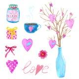 大套水彩元素为情人节或婚礼那天 花、箭头、信封、气球、心脏,杯子和其他 免版税库存图片