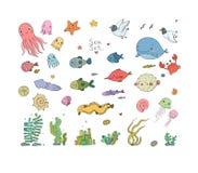大套海军陆战队员 抽象抽象背景海运主题 逗人喜爱的动画片乌龟海星、滑稽的鱼、水母和海马、海草和瓶 向量例证
