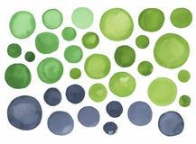 大套灰色绿色水彩标签 免版税库存照片