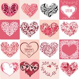 大套装饰桃红色心脏 能为邀请使用, 免版税库存图片