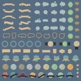 大套设计元素和讲话bubblesin减速火箭的颜色 库存照片