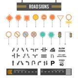 大套路标 路标象 路标空白的模板 被设置的路标 平的设计 免版税库存照片