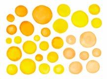 大套黄色水彩标签 图库摄影