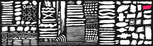 大套黑油漆,墨水刷子,刷子 肮脏的元素设计、箱子、框架或者背景文本的 线或纹理 传染媒介illustr 向量例证