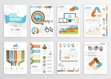 大套Infographics元素企业例证,飞行物,介绍 现代信息图表和社会媒介营销