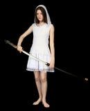大女孩日本人剑 免版税库存图片