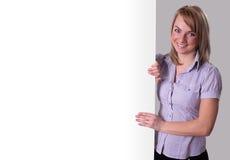 大女实业家愉快的存在的销售额符号&# 免版税库存照片