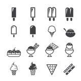 大奶油色冰图标设置了十二向量 免版税库存照片
