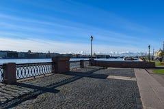大学堤防在圣彼得堡,俄罗斯 免版税库存照片