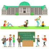 大学教育、学生和Set的Of Illustrations教授 免版税库存图片