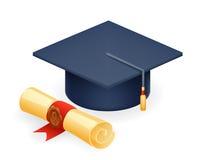 大学有纸卷象学生教育标志的毕业盖帽隔绝了现实3d设计传染媒介例证 图库摄影