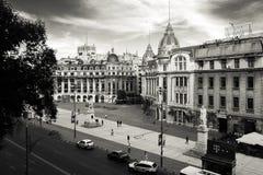 大学正方形鸟瞰图在黑白照片的 库存图片