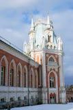 大宫殿的全视图在Tsaritsyno公园在莫斯科 免版税图库摄影