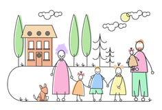 大家庭做父母四儿童宠物议院庄园 免版税库存照片