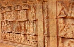 大寺庙第二个塔的美丽的雕象  Brihadisvara寺庙古庙在坦贾武尔,印度 免版税库存图片