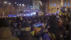 大小组乌克兰爱国者见面体现自由和民主权利 影视素材