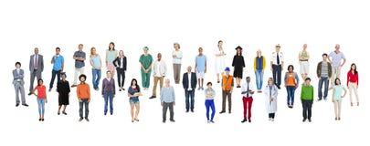 大小组有各种各样的职业的不同种族的人 库存图片