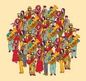 大小组音乐家带乐队颜色 库存图片