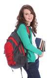 大少年女孩愉快的高中微笑的学员 免版税库存图片
