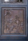 大屏幕里面陈家祠的部分使用民间艺术的从一块被雕刻的板材雕刻了 免版税库存图片