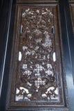 大屏幕里面陈家祠的部分,使用从被雕刻的工艺雕刻的民间雕塑,树,花,鸟 图库摄影