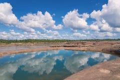 大峡谷惊奇岩石在湄公河, Ubonratchathani 库存图片