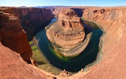 大峡谷:由页,亚利桑那的马掌弯 免版税库存照片