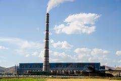 大工厂,热电站,全球性变暖烟上升 图库摄影