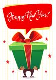 大巨大的礼物盒愿望新年快乐当前问候,经典红色绿色,白色圣诞节快乐颜色,与发光的丝带,carto的弓 库存例证