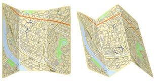 大幅折叠地图 免版税图库摄影