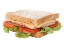 大干酪新鲜的火腿查出的三明治 库存照片