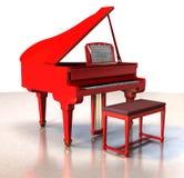 大平台钢琴红色 库存图片
