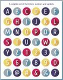 大平的套字母表、数字和标志 平的五颜六色的字母表 平的象字母表 免版税库存照片