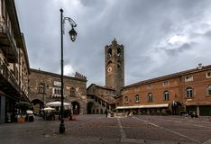 大广场在贝加莫-意大利 免版税图库摄影