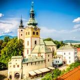 大广场在Banska Bystrica,有历史fortifi的斯洛伐克 图库摄影