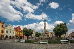大广场在Telc,一个镇在有著名16世纪房子的摩拉维亚,捷克共和国 Unes 免版税图库摄影