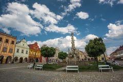 大广场在Telc,一个镇在有著名16世纪房子的摩拉维亚,捷克共和国 Unes 图库摄影