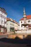 大广场的喷泉在布拉索夫 库存照片