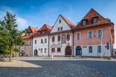 大广场的老房子在Bardejov,斯洛伐克 库存图片