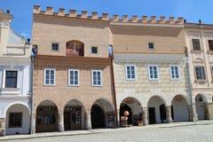 大广场的著名16世纪房子TelÄ 的 库存照片
